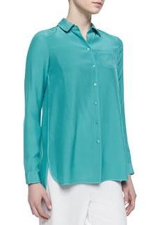 Lafayette 148 New York Long Sleeve Blouse, Turquoise