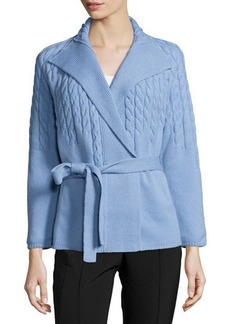 Lafayette 148 New York Long-Sleeve Cable-Knit Belted Cardigan