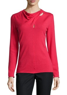 Lafayette 148 New York Long-Sleeve Drape-Neck Sweater
