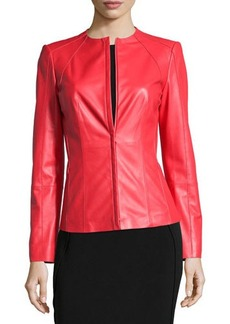 Lafayette 148 New York Long-Sleeve Fitted Leather Jacket