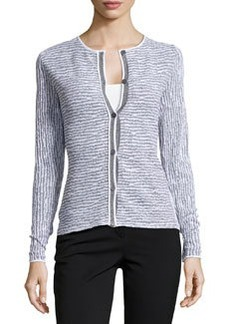Lafayette 148 New York Long-Sleeve Knit Jacquard Sweater, Cinder/White