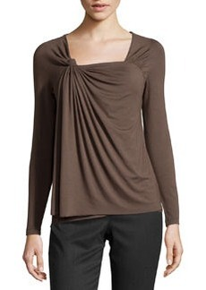 Lafayette 148 New York Long-Sleeve Knot-Front Tee, Granite