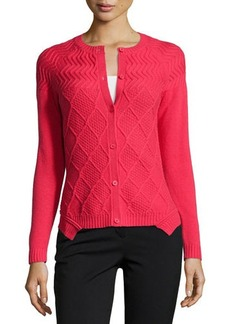 Lafayette 148 New York Long-Sleeve Mixed-Knit Cardigan