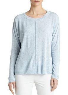 Lafayette 148 New York Long-Sleeve Multi-Gauge Sweater, Vista Blue Melange
