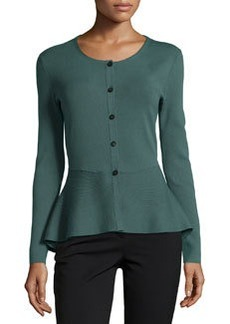 Lafayette 148 New York Long-Sleeve Peplum Cardigan, Hemlock