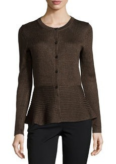Lafayette 148 New York Long-Sleeve Peplum Cardigan, Truffle