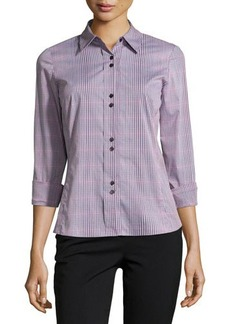 Lafayette 148 New York Long-Sleeve Plaid-Print Button-Front Shirt