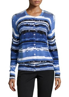Lafayette 148 New York Long-Sleeve Printed Button-Front Cardigan