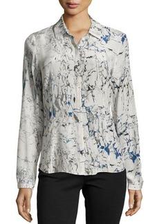 Lafayette 148 New York Long-Sleeve Printed Silk Blouse
