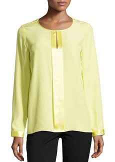 Lafayette 148 New York Long-Sleeve Split-Neck Top