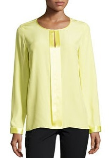Lafayette 148 New York Long-Sleeve Split-Neck Top, Lemonade