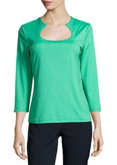 Lafayette 148 New York Long-Sleeve Stretch Jersey Tee, Julep
