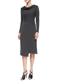 Lafayette 148 New York Long-Sleeve Wool Draped-Neck Dress