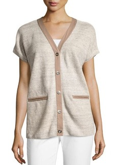 Lafayette 148 New York Long Snap-Front Short-Sleeve Sweater