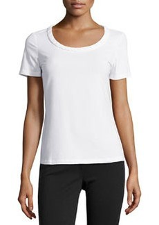 Lafayette 148 New York Looped Scoop-Neck Tee, White