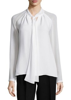 Lafayette 148 New York Louise Tie-Neck Silk Blouse  Louise Tie-Neck Silk Blouse