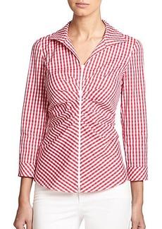 Lafayette 148 New York Lucille Zip-Front Shirt