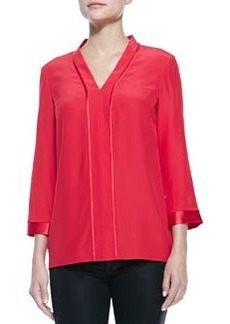 Lafayette 148 New York Lucy Long-Sleeve V-Neck Blouse