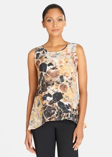 Lafayette 148 New York 'Lucy' Print High/Low Silk Top