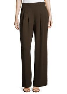 Lafayette 148 New York Ludlow Wide-Leg Crepe Pants, Espresso