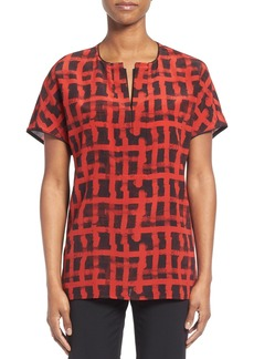 Lafayette 148 New York 'Lula - Modern Grid' Split Neck Blouse
