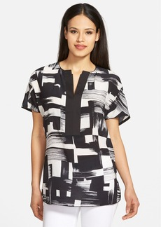 Lafayette 148 New York 'Lula' Brushstroke Split Neck Blouse