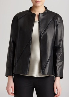 Lafayette 148 New York Lunette Seamed Leather Jacket