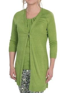 Lafayette 148 New York Lustrous Linen Cardigan Sweater - Single Button, 3/4 Sleeve (For Women)
