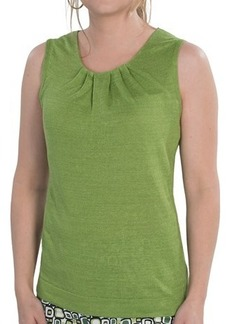 Lafayette 148 New York Lustrous Linen Tank Top - Pleated Neck (For Women)