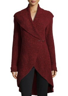 Lafayette 148 New York Luxe Boucle Shawl-Collar Cardigan, Crimson Melange