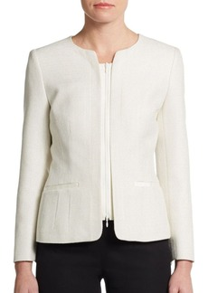 Lafayette 148 New York Lynessa Tweed Faille-Trimmed Zip Jacket