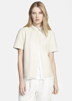 Lafayette 148 New York 'Maisie' Leather Blouse