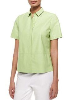 Lafayette 148 New York Maisie Leather Short-Sleeve Shirt Jacket
