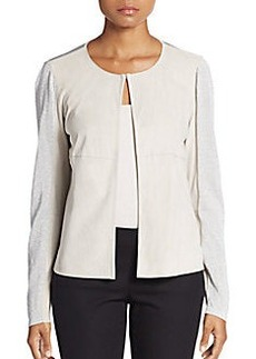 Lafayette 148 New York Malak Suede & Metallic Knit Jacket