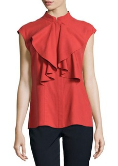 Lafayette 148 New York Malin Ruffled Cap-Sleeve Blouse