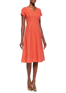Lafayette 148 New York Manon Short Sleeve Flared Slip Dress
