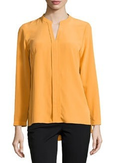 Lafayette 148 New York Mara Pleated V-Neck Blouse, Mango