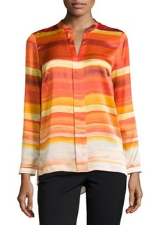 Lafayette 148 New York Mara Striped Pleated V-Neck Blouse