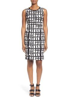 Lafayette 148 New York 'Mariana - Modern Grid' Sleeveless Sheath Dress