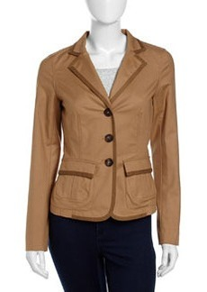 Lafayette 148 New York Maribeth Button-Front Relaxed Stretch-Knit Jacket, Chai