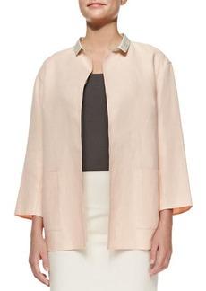 Lafayette 148 New York Marice Linen Topper Jacket W/ Silk Collar