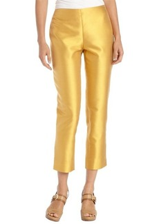 Lafayette 148 New York marigold cotton and silk woven side zip cropped pants