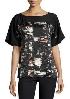 Lafayette 148 New York Maryanne City-Print Short-Sleeve Blouse