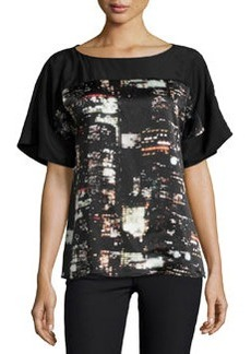 Lafayette 148 New York Maryanne City-Print Short-Sleeve Blouse, Black/Multi