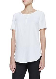 Lafayette 148 New York Matte Silk Short-Sleeve Top
