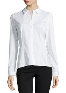 Lafayette 148 New York Mavis Long-Sleeve Poplin Blouse, White
