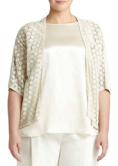 Lafayette 148 New York Medallion-Lace Knit Cardigan