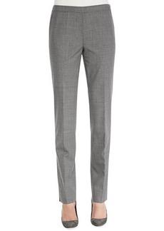 Lafayette 148 New York Melange Wool-Stretch Pants, Nickel