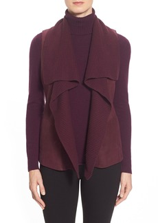 Lafayette 148 New York 'Melosa' Leather & Knit Drape Front Vest