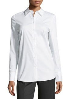 Lafayette 148 New York Melva Beaded-Trim Blouse, White